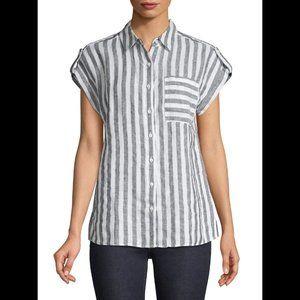Lord & Taylor Short-Sleeve Striped Linen Shirt